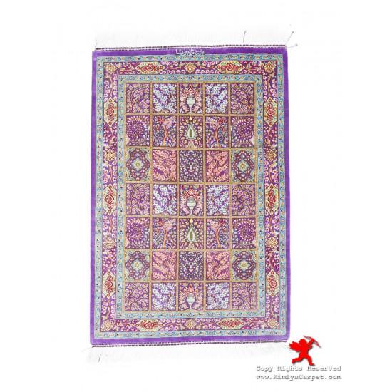 Elegant Kheshti Design Silk Qum Rug - RQ5026