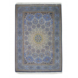 Gonbadi Design Silk & Wool Isfahan Persian Rug  -  RI5010
