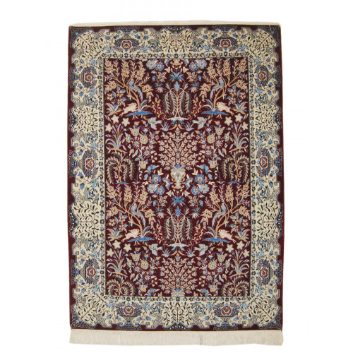 Flower Design Wool & Cotton Nain Persian Rug  -  RN5003