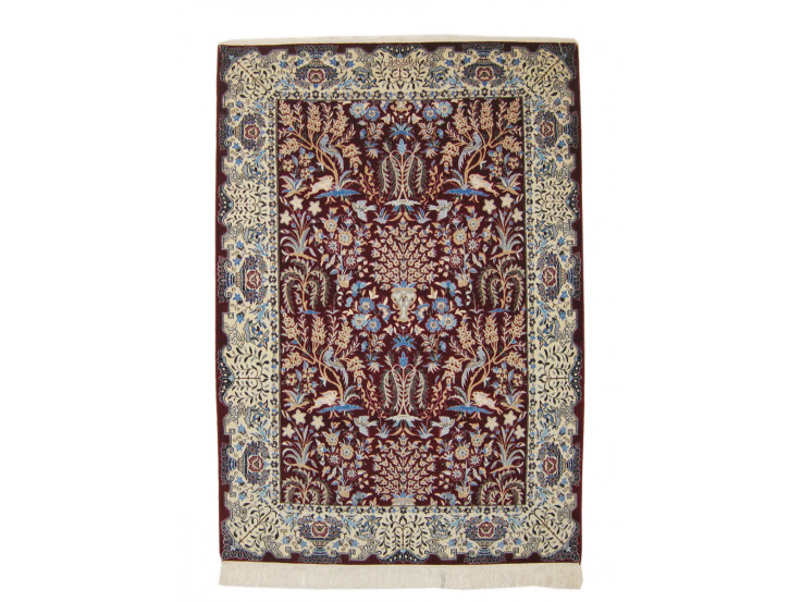 Flower Design Wool & Cotton Nain Persian Rug  -  RN5003