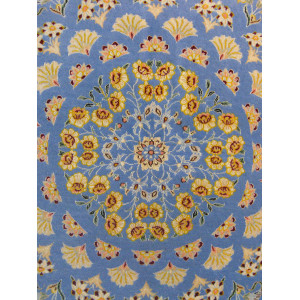 Gonbad Medallion Design Wool & Cotton Isfahan Persian Rug  -  RN5007