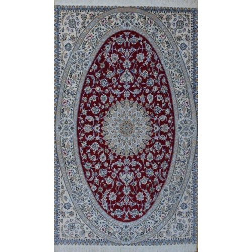 Medalion Design Wool & Cotton Nain Persian Rug  -  RN5018