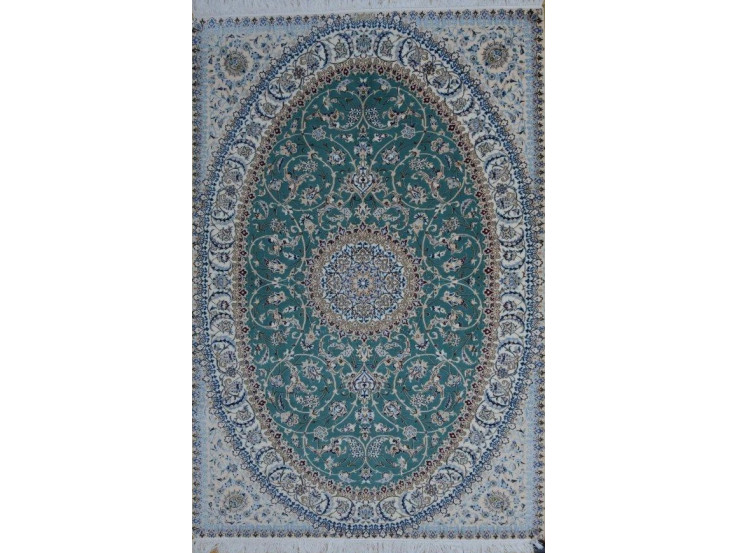Medalion Design Wool & Cotton Nain Persian Rug  -  RN5019