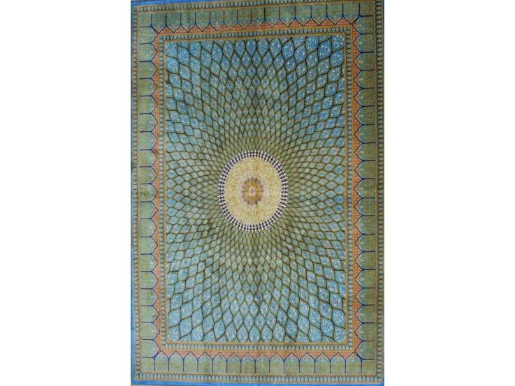 Gonbadi Design Silk Qum Rug - RQ5050